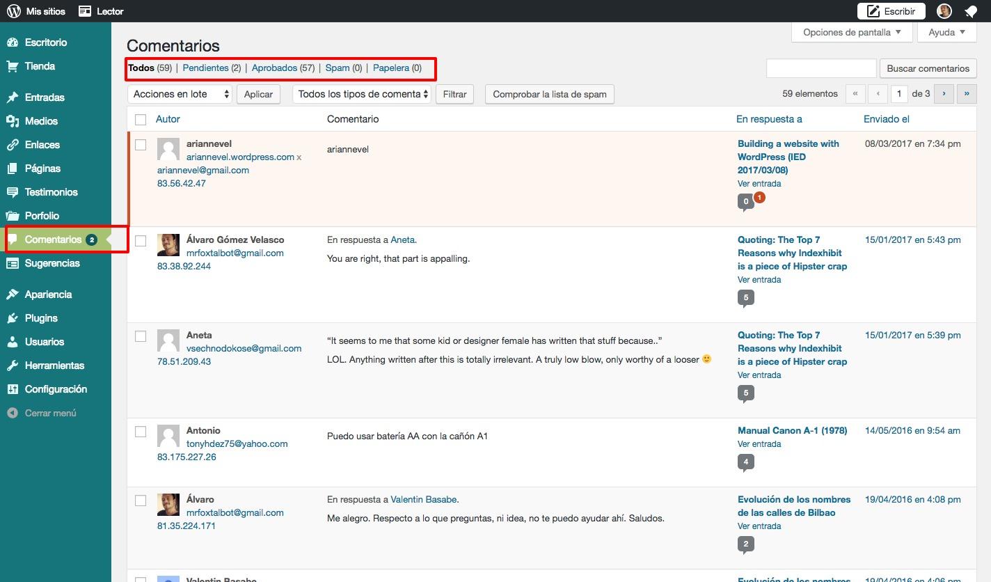Comentarios 2 ‹ MrFoxTalbot — WordPress