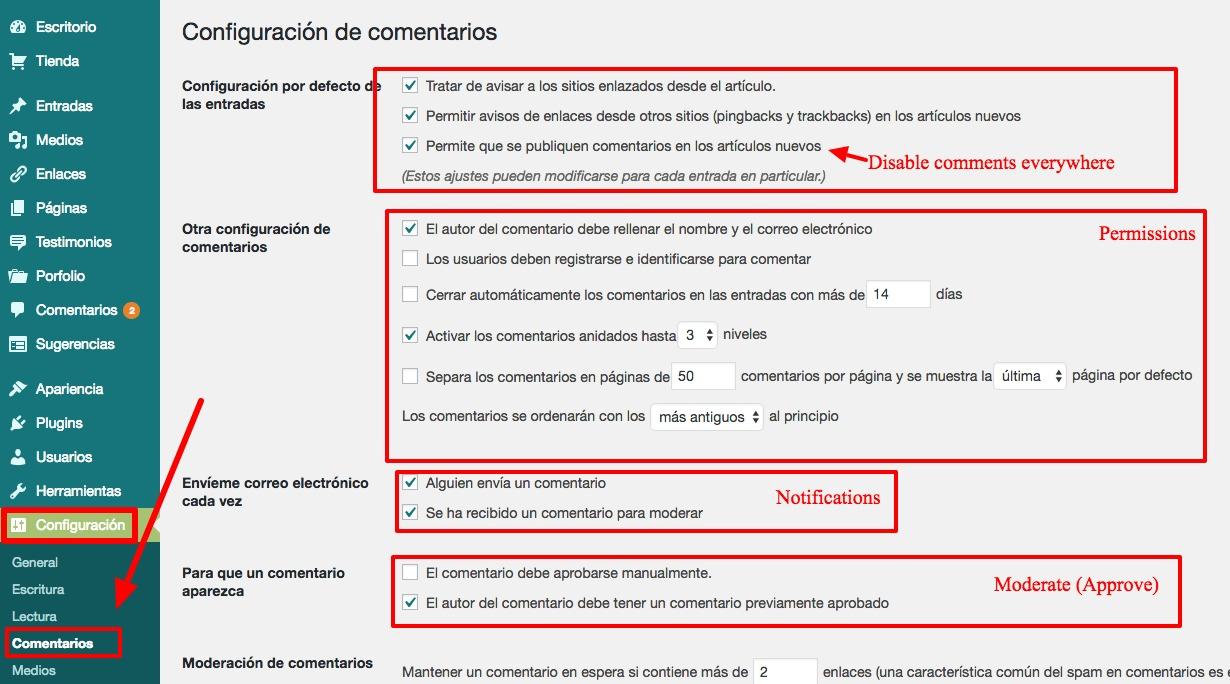 Configuración de comentarios ‹ MrFoxTalbot — WordPress